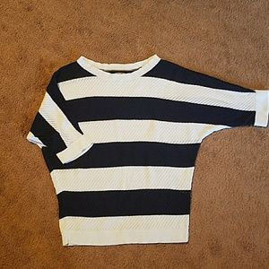 Navy & White Striped Dolman Sleeve Sweater